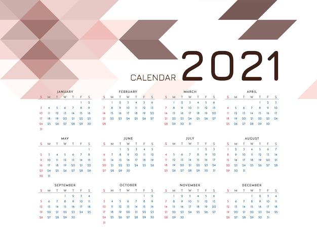 Conception de modèle de mosaïque de calendrier de nouvel an 2021 moderne