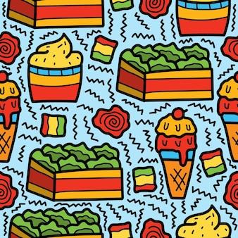 Conception de modèle de nourriture doodle dessin animé dessiné à la main