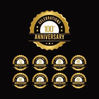 Conception de modèle d'or de célébrations du 100 e anniversaire