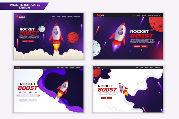 Conception de modèle de page d'atterrissage de site web rocket boost