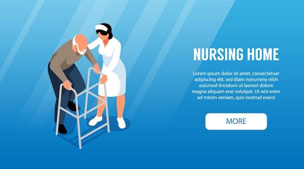 Conception de modèle de page de destination de maison de soins infirmiers isométrique