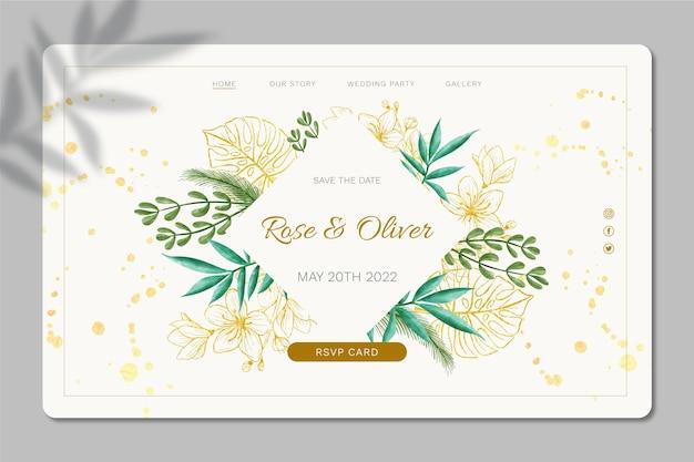 Conception de modèle de page de destination de mariage floral