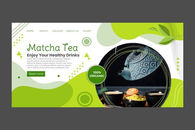 Conception de modèle de page de destination de thé matcha