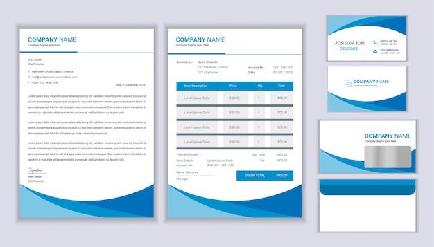 Conception de modèle de papeterie officielle d'entreprise avec en-tête, facture et conception de carte de visite.