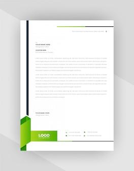 Conception de modèle de papier à en-tête abstrait vert et noir.