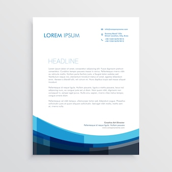 Conception de modèle de papier à en-tête bleu créatif moderne