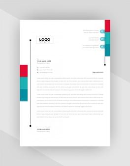 Conception de modèle de papier à en-tête d'entreprise de couleur rouge et cyan.