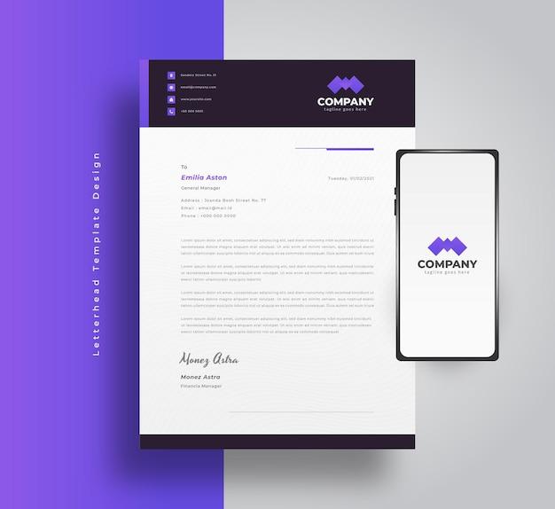 Conception de modèle de papier à en-tête d'entreprise moderne avec concept futuriste et dynamique et smartphone sur le côté