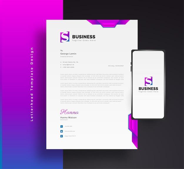 Conception de modèle de papier à en-tête d'entreprise moderne dans un concept futuriste coloré avec smartphone sur le côté
