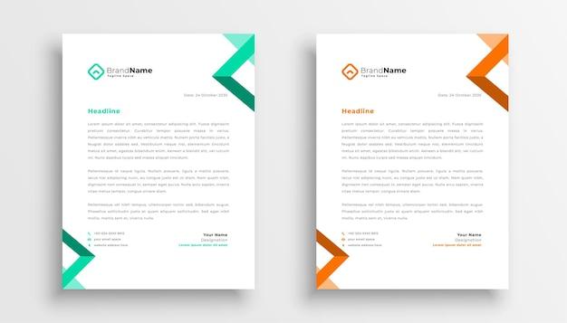 Conception de modèle de papier à en-tête d'entreprise simple