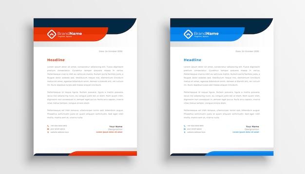 Conception de modèle de papier à en-tête professionnel en deux couleurs