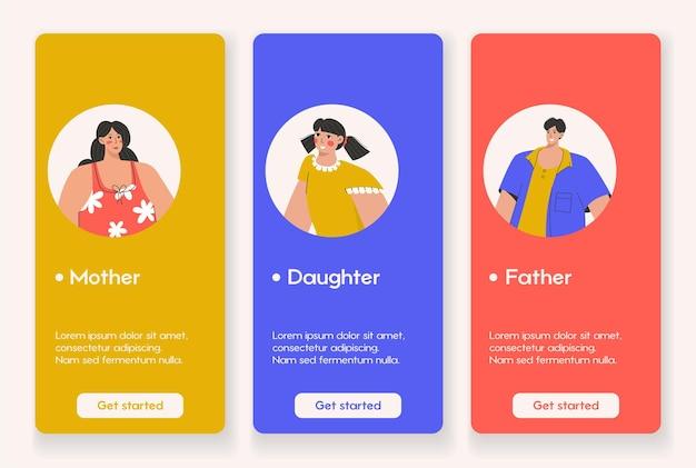 Conception de modèle pour la page d'application mobile avec concept de famille
