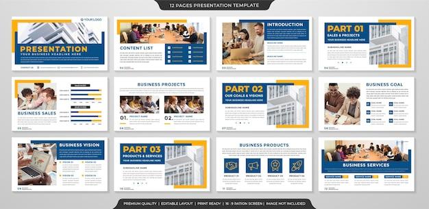 Conception de modèle de présentation d'entreprise avec une mise en page minimaliste et moderne