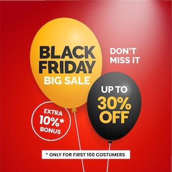 Conception de modèle de promotion affiche de médias sociaux vendredi noir grande vente avec ballon réaliste