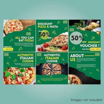 Conception de modèle de publication instagram de nourriture de pizza
