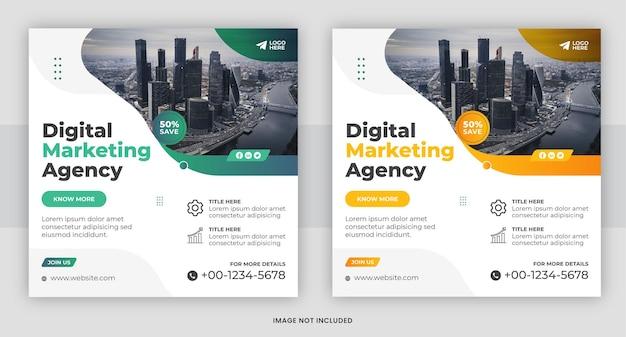 Conception de modèle de publication de médias sociaux d'agence de marketing numérique