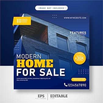 Conception de modèle de publication sur les médias sociaux de la maison immobilière