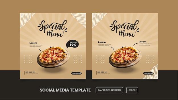 Conception De Modèle De Publication Sur Les Médias Sociaux Pour Pizza Premium Eps Vecteur Premium