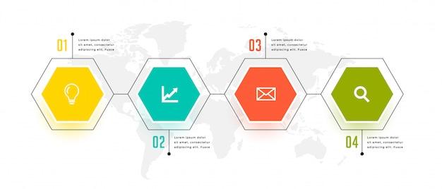 Conception de modèle en quatre étapes infographique de forme hexagonale