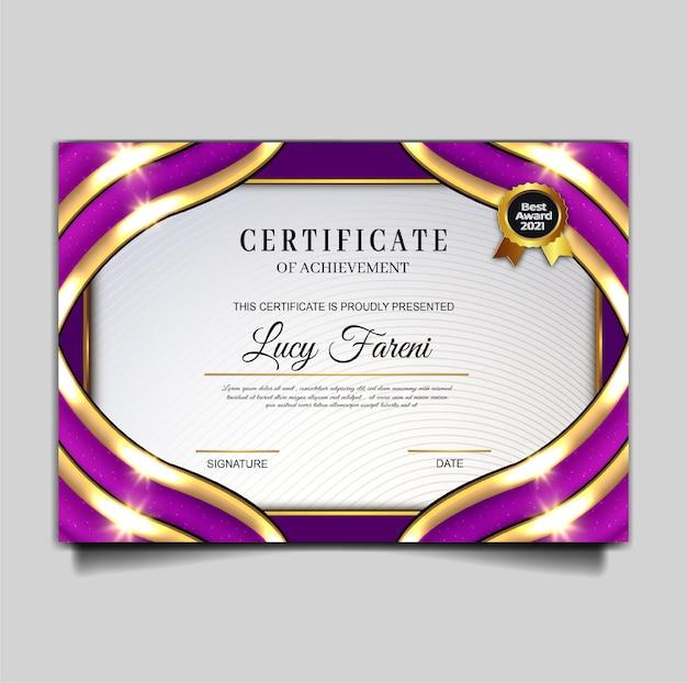 Conception de modèle de réalisation de certificat de luxe