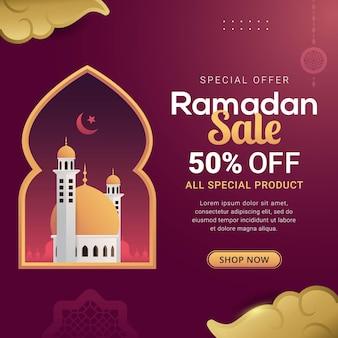 Conception de modèle de réduction de bannière de vente ramadan pour la promotion des entreprises