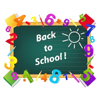 Conception de modèle de retour à l'école de la commission scolaire, crayons de couleur, figures, manuels, sur blanc