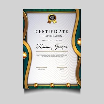 Conception de modèle de réussite de certificat de diplôme de luxe