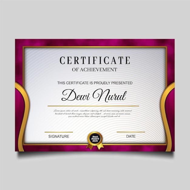 Conception de modèle de réussite de certificat de luxe