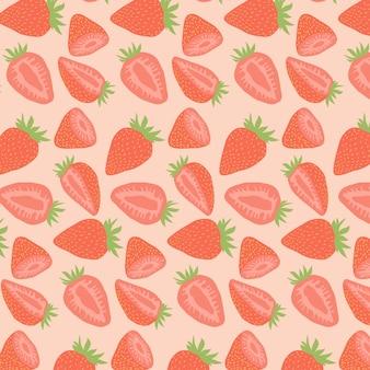 Conception de modèle sans couture aux fraises dessinés à la main