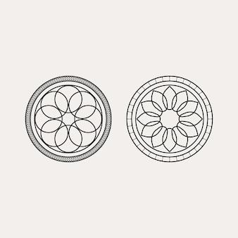 Conception de modèle sans couture coréen traditionnel avec des fleurs florales arrondies