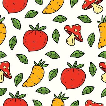 Conception de modèle sans couture de dessin animé doodle légumes dessinés à la main