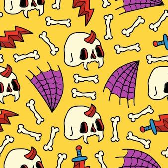Conception de modèle sans couture de dessin animé halloween doodle dessinés à la main