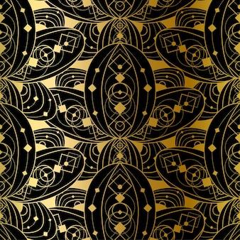 Conception de modèle sans couture dorée avec ornement géométrique dégradé, impression de mode abstraite sur fond noir. décoration de vecteur de modèle, beau style vintage de luxe.
