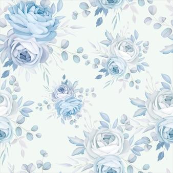 Conception de modèle sans couture floral bleu classique
