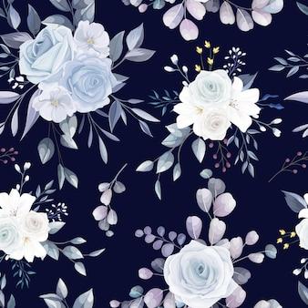Conception de modèle sans couture floral dessiné main élégante