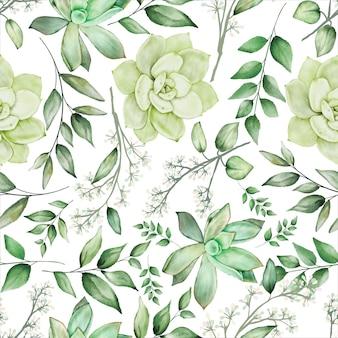 Conception de modèle sans couture florale aquarelle verdure
