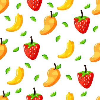 Conception de modèle sans couture de fruits sains dessinés à la main plat
