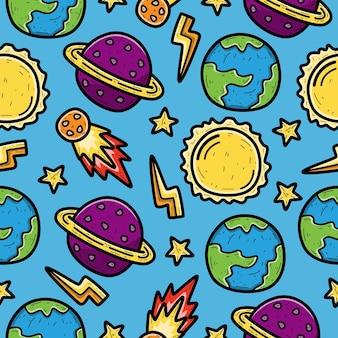 Conception de modèle sans couture de planète dessin animé doodle