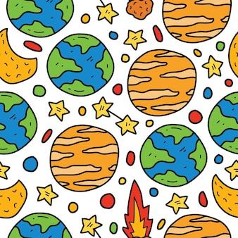 Conception de modèle sans couture de planète doodle cartoon dessiné à la main