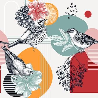Conception de modèle sans couture de style de collage oiseau dessiné à la main sur la fleur de dahlia