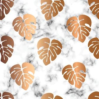 Conception de modèle sans couture de texture de marbre avec des feuilles de monstera or, surface de persillage noir et blanc, fond luxueux moderne, illustration vectorielle