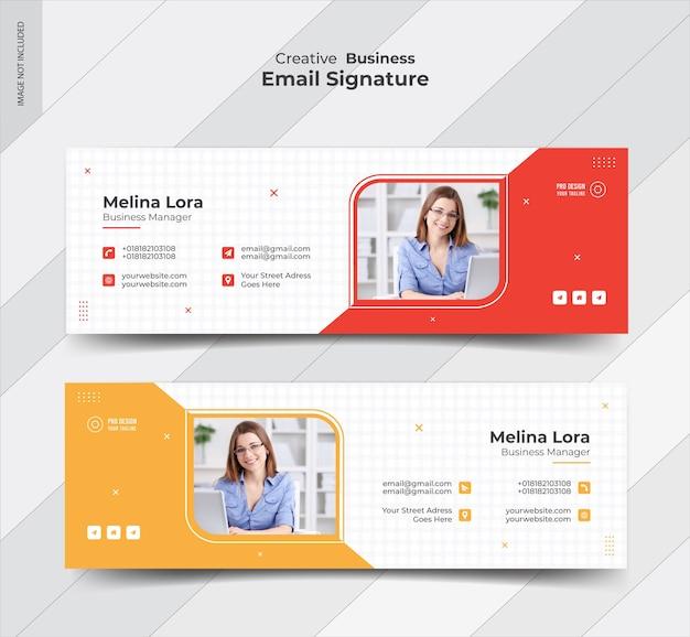 Conception de modèle de signature de courrier électronique et couverture de médias sociaux personnels