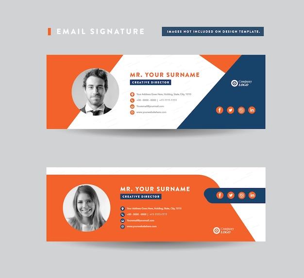 Conception de modèle de signature de courrier électronique. ensemble de couverture de médias sociaux