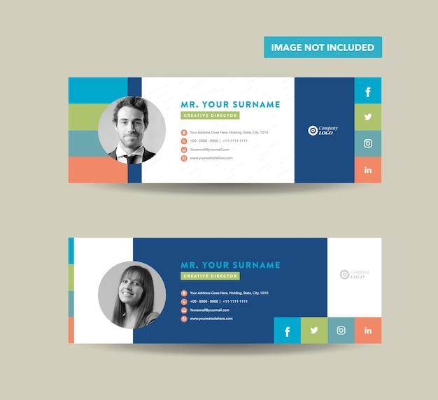 Conception de modèle de signature de courrier électronique ou pied de page de courrier électronique ou couverture personnelle de médias sociaux