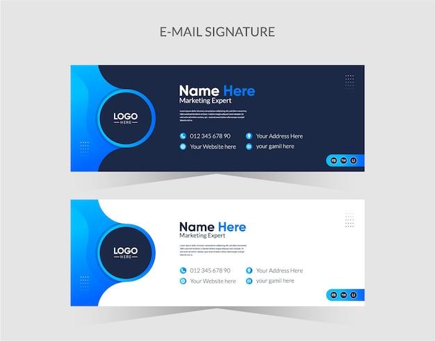 Conception de modèle de signature d'e-mail moderne et pied de page d'e-mail personnel