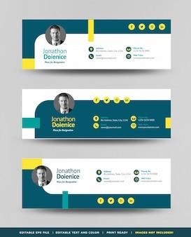 Conception de modèle de signature d'e-mail ou pied de page d'e-mail ou couverture personnelle de médias sociaux