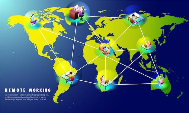 Conception de modèle de site web basée sur le concept de travail à distance.