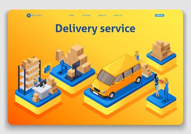 Conception de modèle de site web. concept isométrique la livraison sert, commande en ligne, centre d'appels. page de destination facile à modifier et à personnaliser.