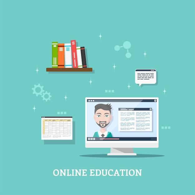 Conception de modèle de style plat pour webinaire en ligne, concept de technologie d'éducation à distance