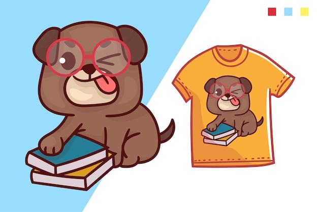 Conception de modèle de t-shirt mignon chien intelligent